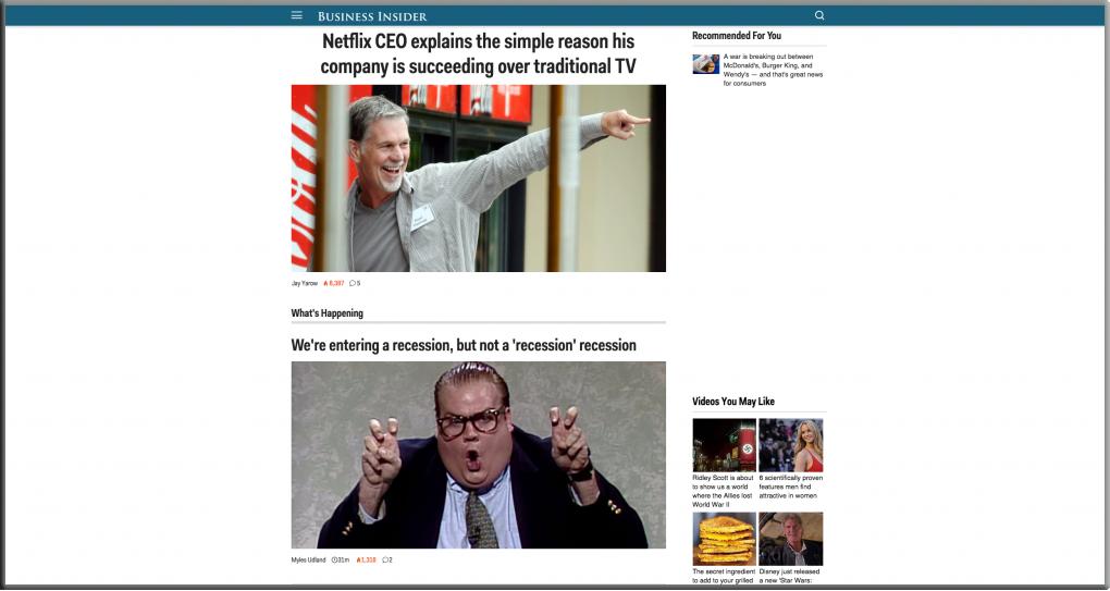 Page d'accueil de Business Insider USA